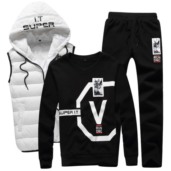 Custom Winter Tracksuit with Track Pants& Hoodies & Puffer Vest