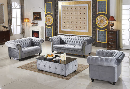 Chesterfield Fabric Sofa Set L A01