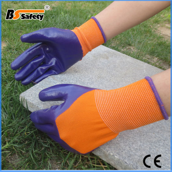 Good Quality Double Color Nitrile Coated Working Safety Gloves