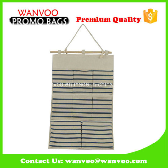 Stripe Canvas Jute Eco Friendly Hanging Wall Storage Organizer pictures & photos