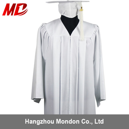 China Economy Bachelor Graduation Cap And Gown Matte White China