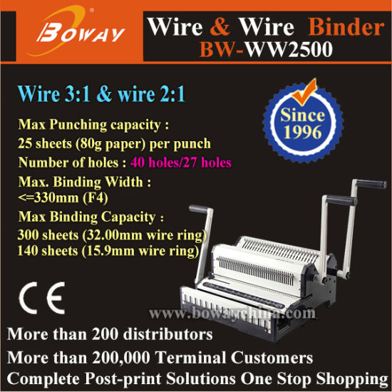 Boway Manual Office Desktop Wire 3: 1 and Wire 2: 1 Calendar Note Book Binding Machine Ww2500 pictures & photos