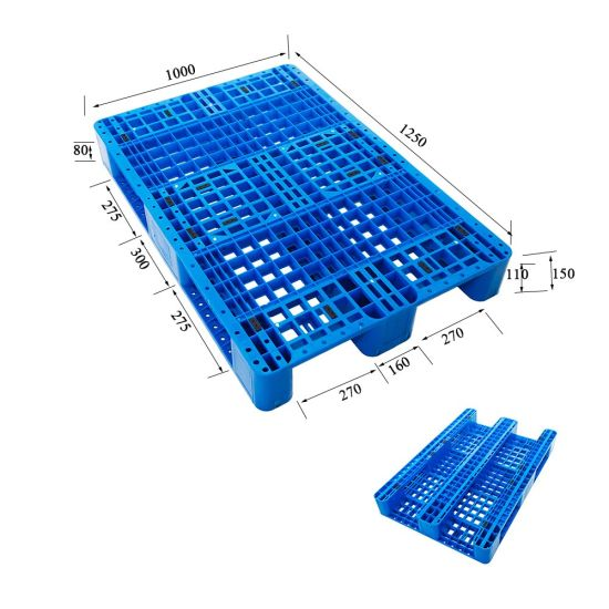 Steel Reinforced Logistics Storage Tray Three Runners 4 Way Entry Plastic Pallet