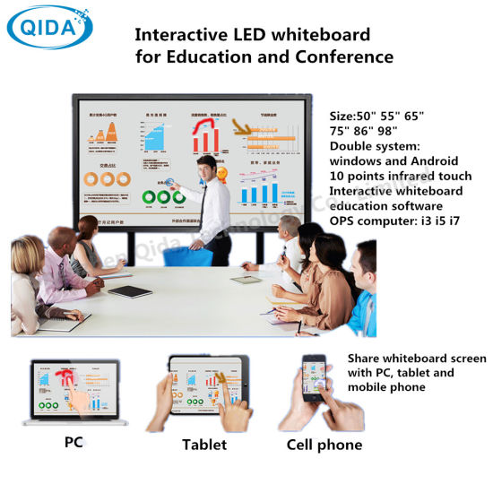 Ce RoHS Certified 65inch Multi Touch All in One Double System Windows Android Electric Whiteboard for Education