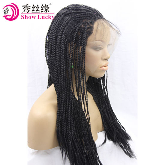 b3a23805621 High Density 2X Twist Braids Lace Front Wigs for Black Women Synthetic Lace  Front Braided Wig with Natural Hairline