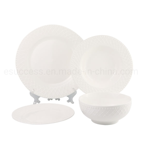 Embossed China White Dinnerware China Factory Tableware Supplier Wholesale Cookware Plate Manufacture