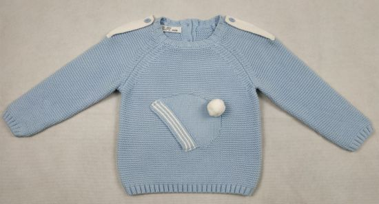 Boy′s Blue Round Neck Long Sleeves Sweater with Links pictures & photos