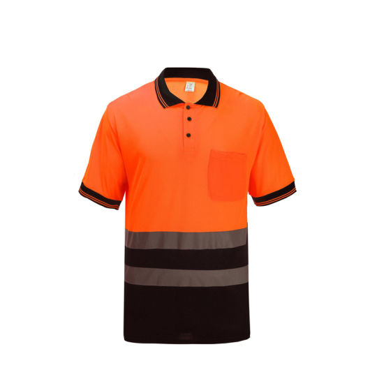 Safety T-Shirt Hi Viz Clothing Short Sleeve Safety Polo Shirt with Reflective Tape