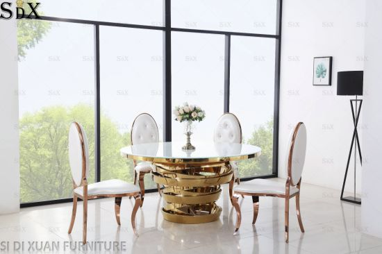 Round Glass Dining Table Set Stainless, Round Glass Dining Room Table