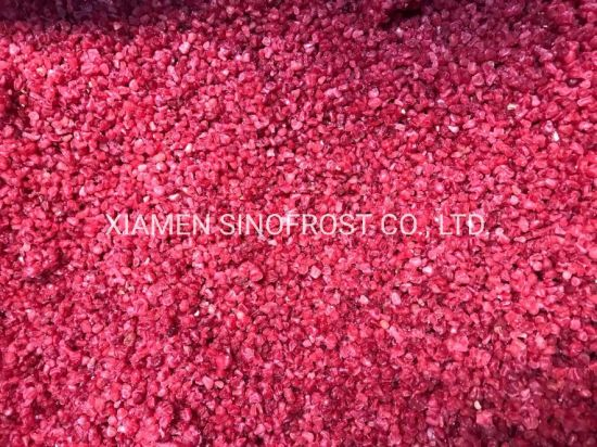 IQF Raspberries Crumbles, Frozen Raspberries Crumbles, Frozen Raspberry Crumbles, IQF Raspberry Crumbles, Laser Sorted, Clean, Yoghurt Quality, Red, Cultivated