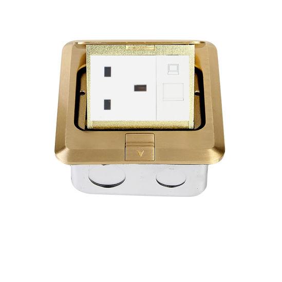 Brass Pop up Floor Socket Metal Outlet Box with 13A UK Socket