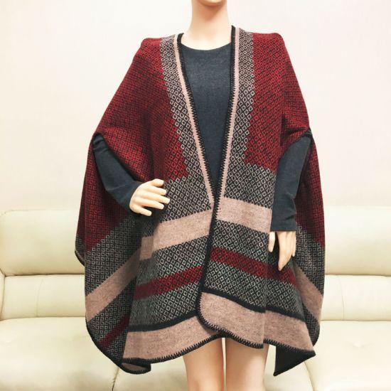 Wholesale Small Order Stock Winter Women Jacquard Blanket Scarf Geometric Shawl with Tassels