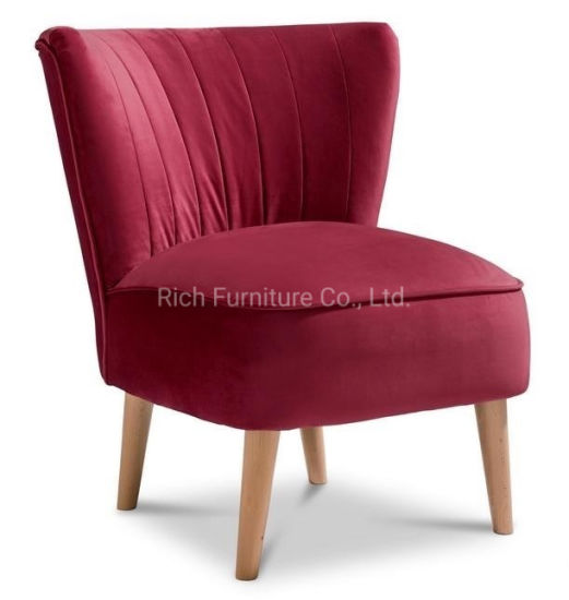New Claret Dark Red Accent Chair Hot Selling Living Room Farbic Velvet  Plush Dining Chair