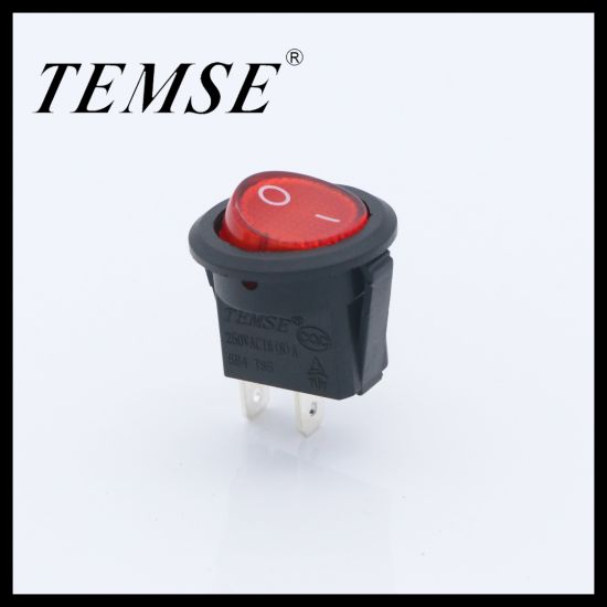 Black Case Red Cover Instrument Mini Round-Rocker-Switch with 2pins 23mm
