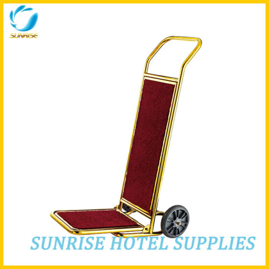 Hotel Lobby Stainless Steel Luggage Cart with Brushed Finish pictures & photos