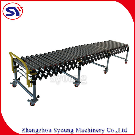 Powered Portable Galvanized Pipe Roller Table Conveyor for Container Unloading