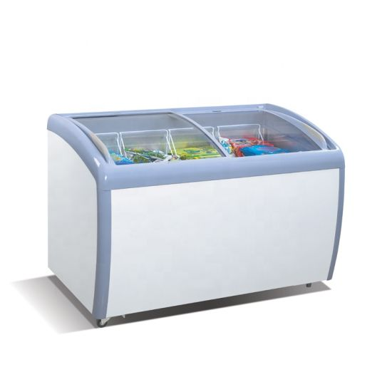 Commercial 9.2 Cuft Curved Glass Lids Gelato Ice Cream Showcase Freezer