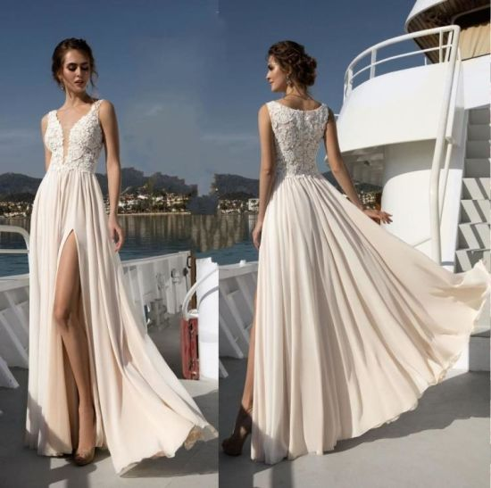A Line Champagne Wedding Gowns Lace Bodice Chiffon Beach
