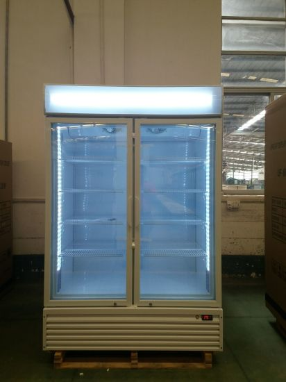 China Two Door Upright Beverage Display Freezer With Lock China