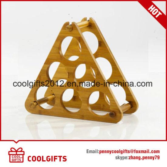 Wine Bottle Christmas Tree Rack.Triangle Collect 6 Bottles Kitchen Durable Bamboo Wine Bottle Rack Holder