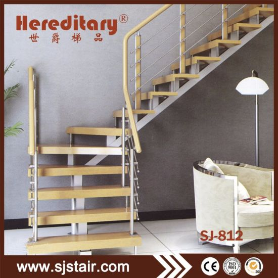 China Straight Steel Wood Staircase Modern Steel Staircase China