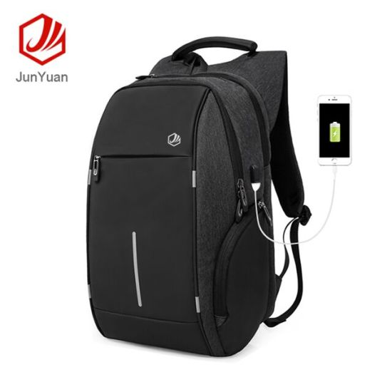 Junyuan Hot Selling Anti-Theft Business Laptop Backpack School Travel Backpack Bag with USB Cable
