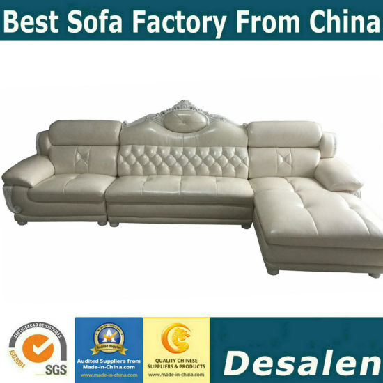 China Cream Color Simple Royal Genuine Leather Sectional Sofa A38 1