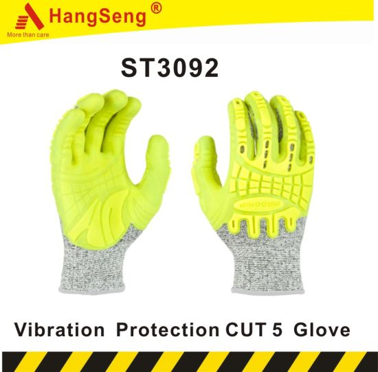 TPR Vibration Protection Safety Work Glove for Industrial Purpose Use (ST3092)