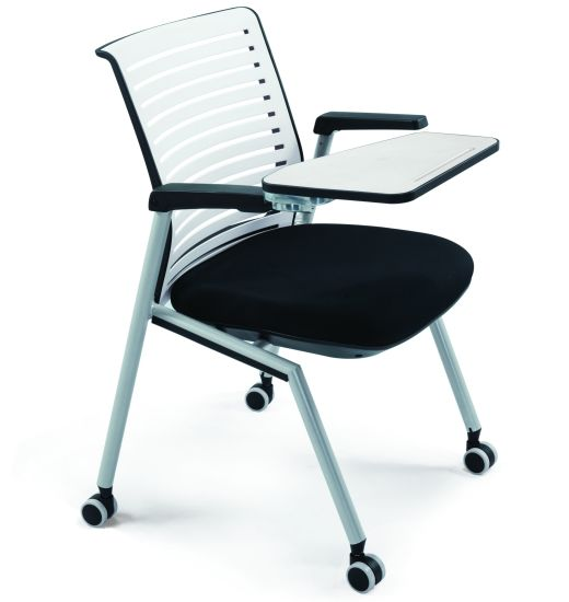 Plastic Office Stackable Training Chair Folding Meeting Seater with Aluminum Writing Tablet