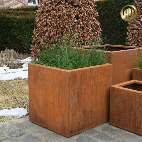 Customized Assembly Corten Steel Rusty Outdoor Planter