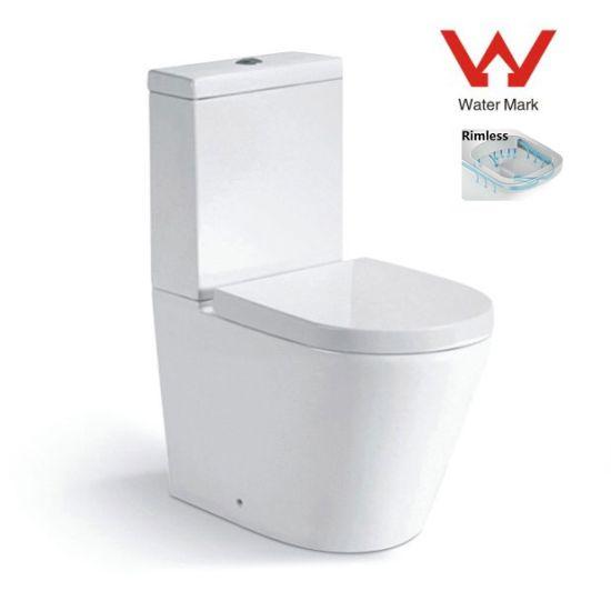 8057 White Washdown Rimless Two Piece Toilet, Water Mark Toilet