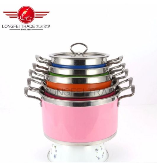 Longfei Wholesale High Quality 5 PCS Stainless Steel Cookware Set