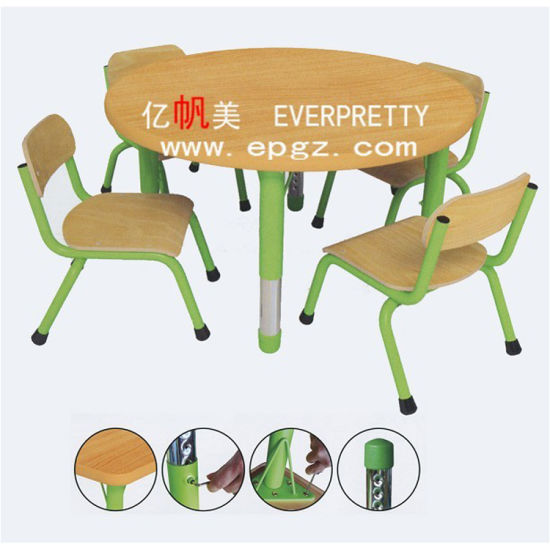8160fec3301 High Quality Children Furniture 4-Seater Round Adjustable Kids Table and  Chair