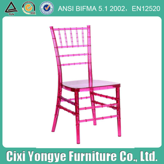 Transparent Rose Red Resin Chivari Chair at Party pictures & photos
