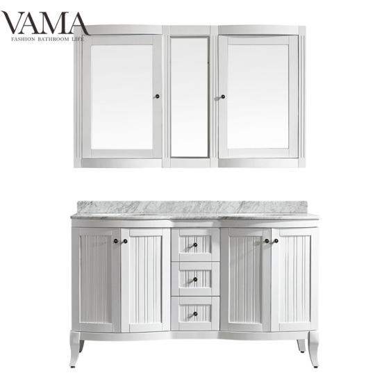 Vama 60 Inch Wholesale Double Sinks Solid Wood Bathroom Furniture with Mirror Cabinet 717060