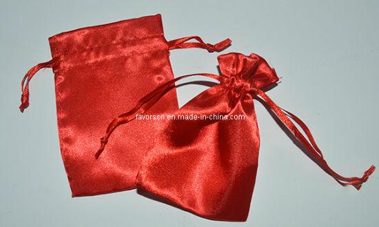 22fda3b16bdd1 China Promotional 5X7′′ Red Drawstring Satin Packing Bag - China ...