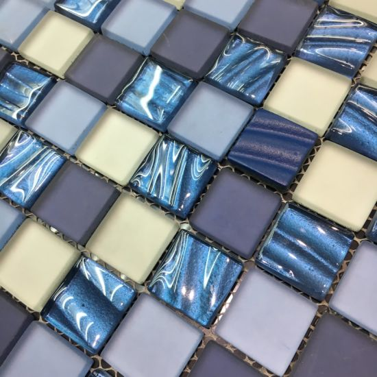 Classicial Blue and White Frosting Glass Mosaic Tile pictures & photos