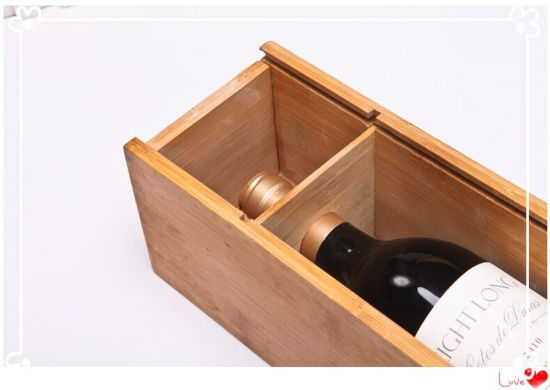 China Custom Logo Wooden Wine Case Boxes With Sliding Lid