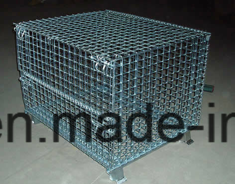 Stackable Folded Wire Mesh Container with Lid pictures & photos