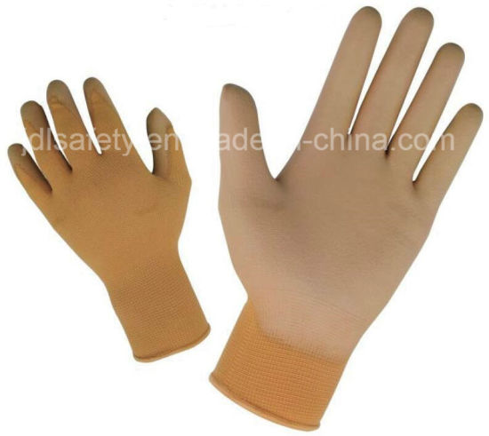 Industrial Using Keep Hands Safety Personal Protective Equipment Colorful Polyester Work Glove with PU Palm Coated (PN8004)