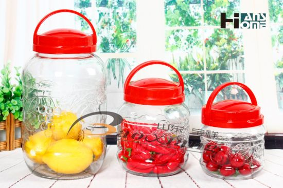 HD98 Four Size High-Capacity Storage Glass Bottle with Plastic Handle pictures & photos