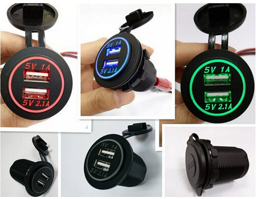 Boat Auto RV Marine Grade Dual USB Charger Socket 1A /& 2.1A /&  Power Outlet