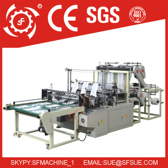 Automatic Plastic Nylon Biodegradable T-Shirt Vest Shopping Patch Flower Flat Garbage Bag Cutting Making Machine