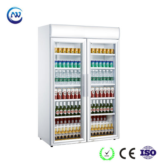 China Double Glass Door Beer Cooler Soft Drink Fridge Lg 1040cf