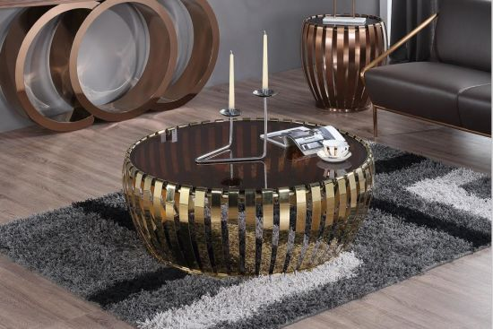 China Living Room Furinture Rose Gold Coffee Table With Glass Top