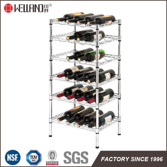 Multi Purpose Adjustable 6 Tiers Chrome Metal Wine Bottle Storage Rack Shelf