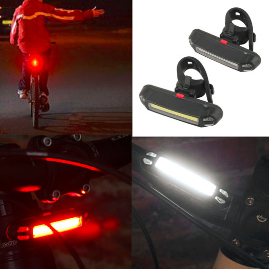 LED+COB 18650 USB Recharge Cycling Bike Light Double Lamp Head Light Bicycle USA
