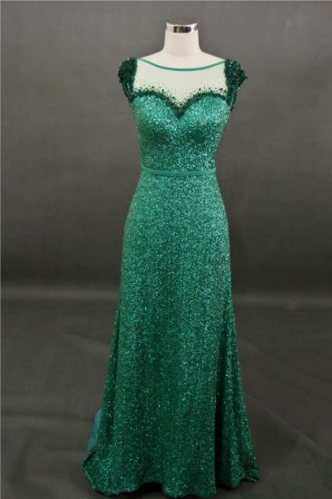 20c0043916 China Green Sequin Lace Beading Mermaid Evening Dress - China Dress ...