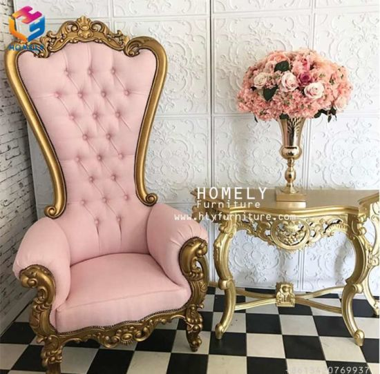 China Luxury Salon Hotel Party High Back King Queen Throne Chair ...