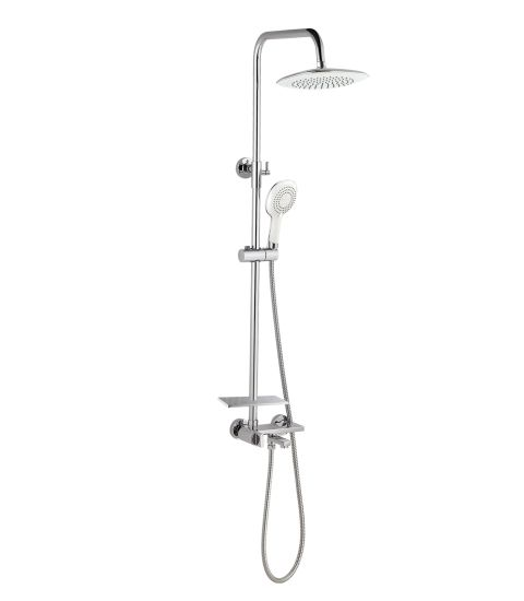 Bathroom Accessories Stainless Steel Shower Column with Cold and Hot Water Shower Faucet, Hand Shower, Shower Head and Hose E61008